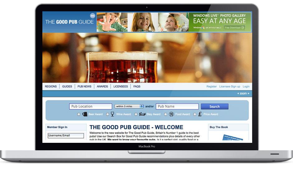 Good Pub Guide website pub search UI and site design development