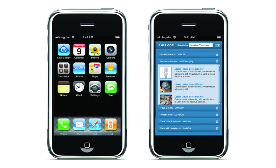 iPhone application design UI and direction
