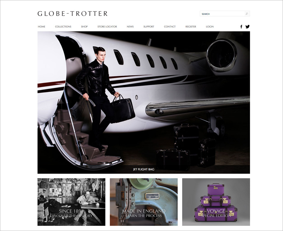 Globe-Trotter website with homepage gallery slider and social media