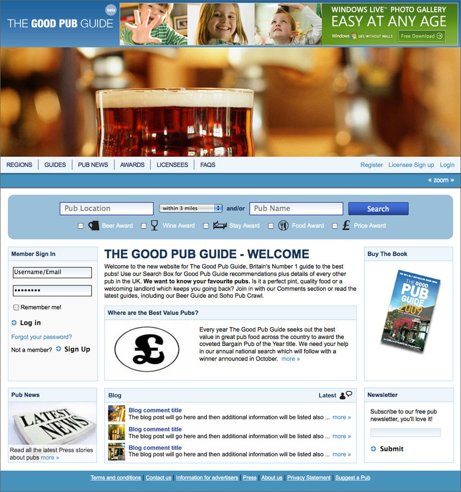 Good Pub Guide Homepage Content Visual
