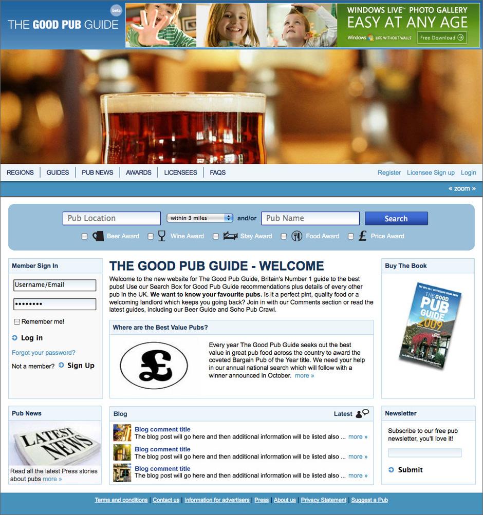 Good Pub Guide Homepage Content Visual