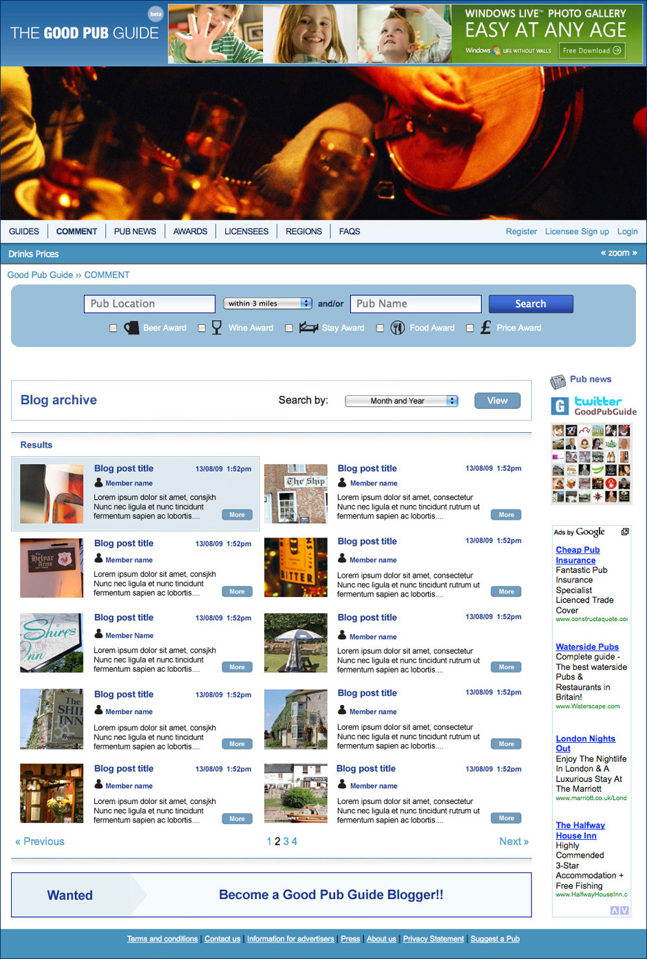 Good Pub Guide Blog Archive Page Visual